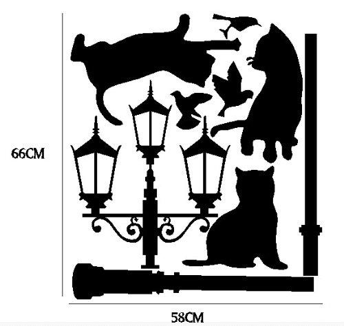 Vinilo decorativo de gatos debajo de una farola for Vinilos pared blancos