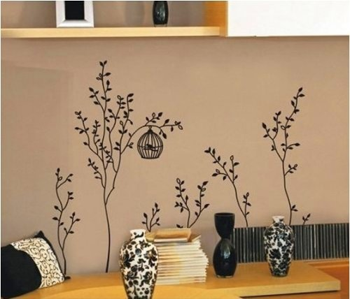 Vinilo adhesivo para la pared dise o de arboles con jaulas - Vinilo de pared ...