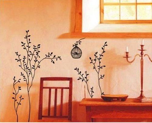 Vinilo adhesivo para la pared dise o de arboles con jaulas for Diseno vinilos