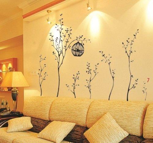 Vinilo adhesivo para la pared dise o de arboles con jaulas - Perchas de pared de diseno ...