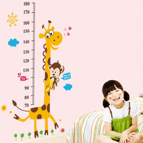 Vinilo infantil medidor jirafa y mono for Vinilos para ninos bebes