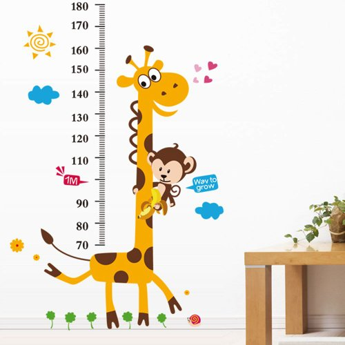 Vinilo infantil medidor jirafa y mono for Vinilos infantiles pared baratos