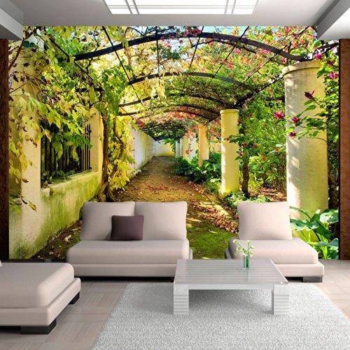 Fotomural de patio florido con profundidad for Adornos para paredes de patios