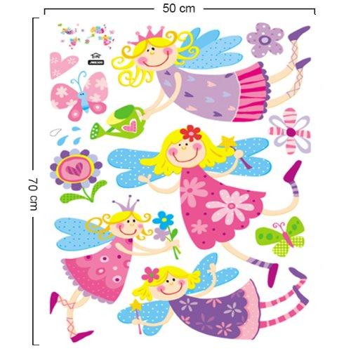 Vinilo infantil de princesas y hadas de colores for Pegatinas decorativas infantiles