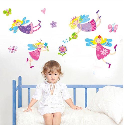Vinilo infantil de princesas y hadas de colores - Pegatinas para dormitorios infantiles ...