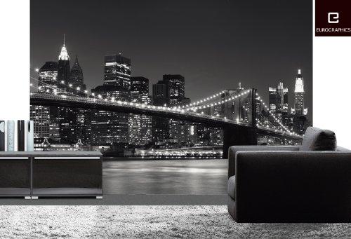 Fotomural puente de brooklyn newyork en blanco y negro for Vinilos pared new york