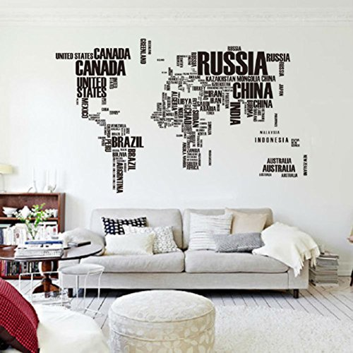 Vinilo mapa del mundo para pared barato for Vinilos pared ciudades
