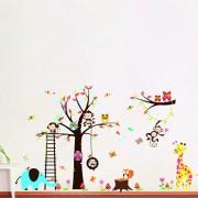 Rainbow-Fox-bho-y-el-mono-ardilla-jirafa-que-juega-en-Tatuajes-de-pared-colorido-del-rbol-etiqueta-de-la-pared-0-1