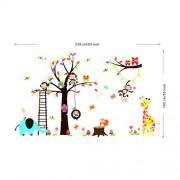 Rainbow-Fox-bho-y-el-mono-ardilla-jirafa-que-juega-en-Tatuajes-de-pared-colorido-del-rbol-etiqueta-de-la-pared-0-3