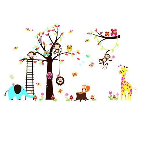 Rainbow-Fox-bho-y-el-mono-ardilla-jirafa-que-juega-en-Tatuajes-de-pared-colorido-del-rbol-etiqueta-de-la-pared-0