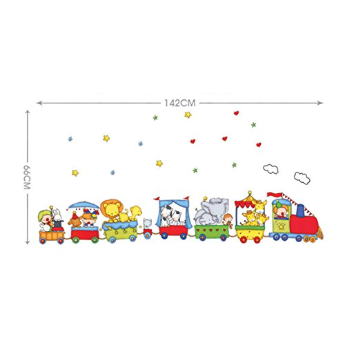 Vinilo infantil tren con animales - Dibujos para paredes de bebes ...