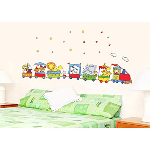 Vinilo infantil tren con animales for Vinilo pared habitacion