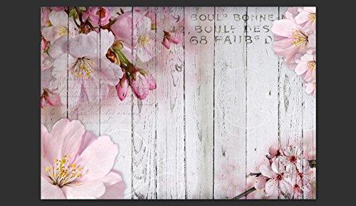 Fondo De Madera Vintage Con Flores Blancas Manzana Y: Fotomural Vintage Con Flores Y Tablas De Madera