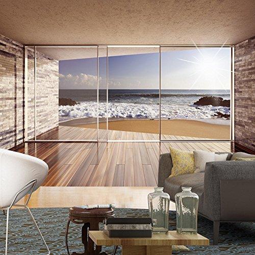fotomural terraza con vistas al mar. Black Bedroom Furniture Sets. Home Design Ideas
