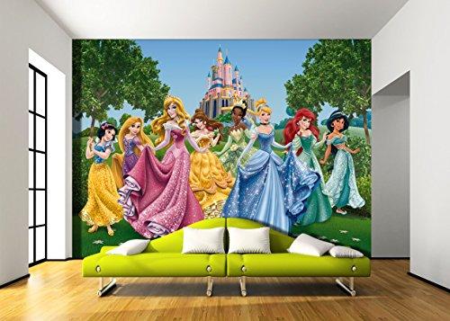 Fotomural infantil de princesas de disney en el castillo for Fotomurales infantiles para paredes