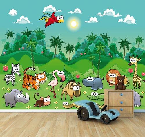 Fotomural infantil animales de la selva - Paisajes infantiles para decorar paredes ...