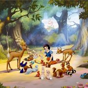 Blancanieves-Y-Los-Siete-Enanitos-Picnic-With-Animals-In-The-Woods-Pster-Fotomural-360-x-270cm-0