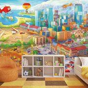 Ciudad-colorida-de-cmic-fotomurales-decoracin-de-la-pared-de-Great-Art-adhesivo-especial-0-1