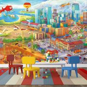 Ciudad-colorida-de-cmic-fotomurales-decoracin-de-la-pared-de-Great-Art-adhesivo-especial-0-2