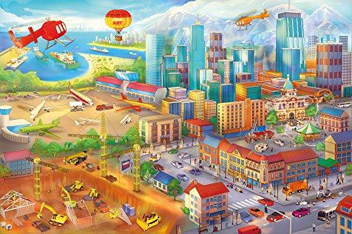 Ciudad-colorida-de-cmic-fotomurales-decoracin-de-la-pared-de-Great-Art-adhesivo-especial-0