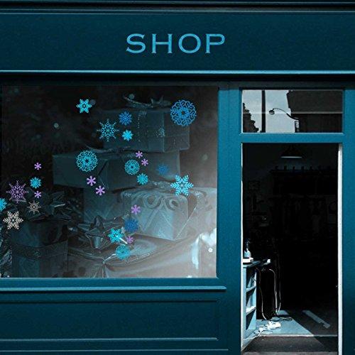Copos-de-nieve-de-la-Navidad-pegatinas-de-pared-Vinilo-autoadhesivo-decoracin-para-el-hogar-ventanas-o-paredes-rpido-60X30-CM-en-juego-0-3 Escaparates decorados con vinilos de Navidad