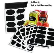 DLAND-64-reutilizables-Etiquetas-Pizarra-Pro-8-Hoja-Pack-Calidad-Premium-Negro-decorativo-adhesivo-Pegatinas-despensa-del-organizador-del-almacenaje-tarro-de-albail-etiquetas-Tiza-etiquetas-del-regalo-0