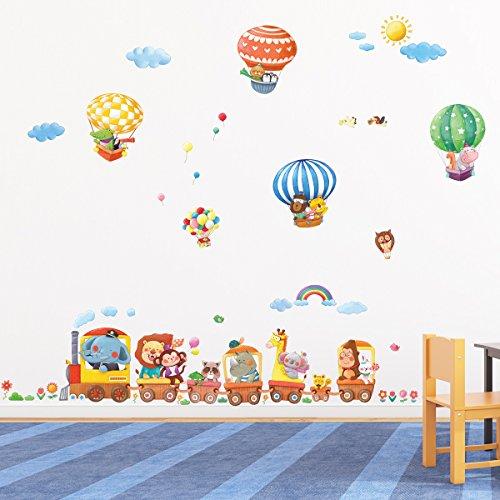 Vinilo infantil de un tren de animales y globos aerost ticos for Pegatinas infantiles para muebles