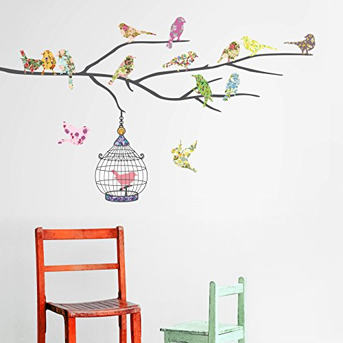 Vinilo decorativo de p jaros y jaula for Pegatinas de pared baratas