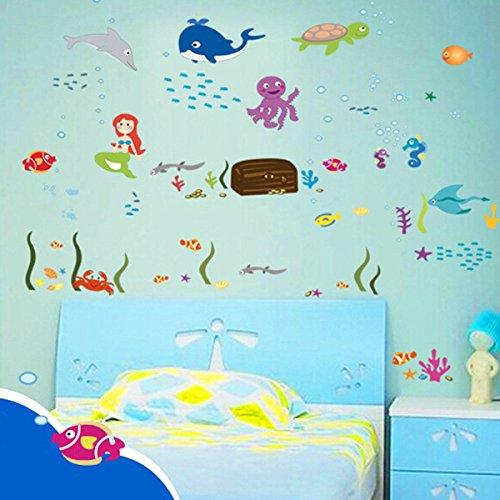 Pegatina pared de sirenas peces para la habitaci n de los peques for Oferta vinilos pared