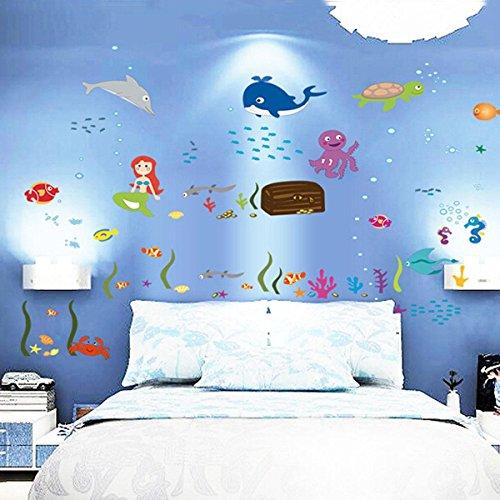 Pegatina pared de sirenas peces para la habitaci n de los for Pegatinas de peces