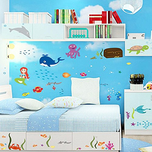 Pegatina-Pared-Vinilo-Decorativo-Adhesivo-Infantil-Decoracin-Bao-Ventana-Vidrio-Mundo-Submarino-Tortuga-Ballena-Sirena-Multicolor-0-3 Ideas para decorar la habitacion del bebe