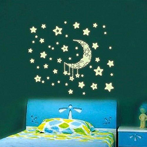 Vinilo de pared de estrellas y luna luminoso para la for Cuartos decorados con estrellas