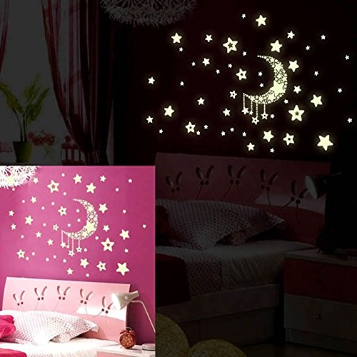 Vinilo de pared de estrellas y luna luminoso para la for Vinilo pared habitacion