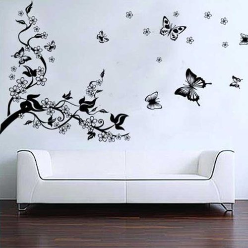 Vinilos para decorar la pared rbol y mariposas for Pegatinas murales pared