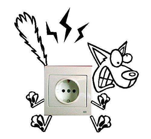 Pegatina de perro electrocutado para enchufe for Vinilos para enchufes