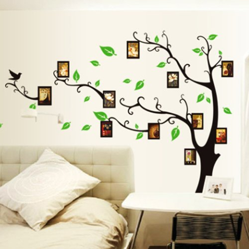 Vinilo decorativo arb l con marcos de fotos en for Papel decorativo pared