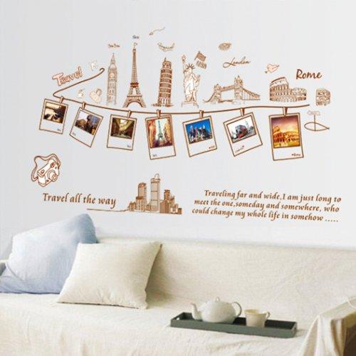Vinilo decorativo de recuerdos de viajes por el mundo - Vinilos para pared de dormitorio ...