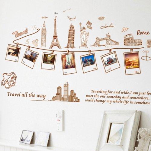 Vinilo decorativo de recuerdos de viajes por el mundo for Pegatinas decorativas pared
