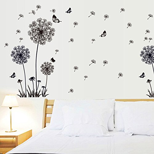 Vinilo decorativo diente de le n con mariposas for Pegatinas para decorar paredes