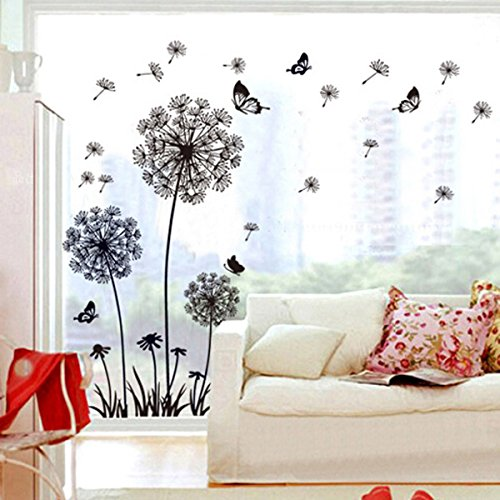 Vinilo decorativo diente de le n con mariposas for Oferta vinilos pared