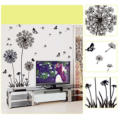 Vinilo decorativo diente de le n con mariposas for Vinilos pared recibidor