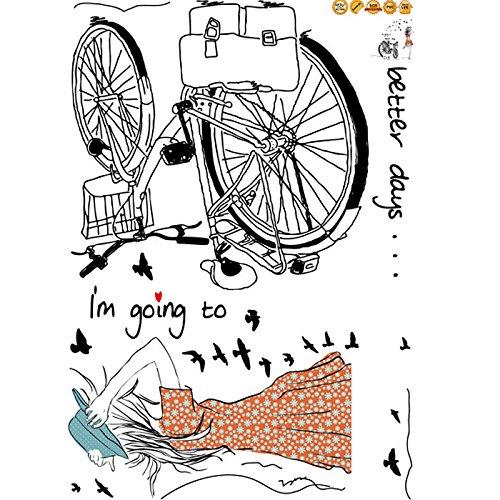 Vinilo decorativo para el dormitorio chica y bicicleta for Pegatinas de vinilo para paredes infantiles
