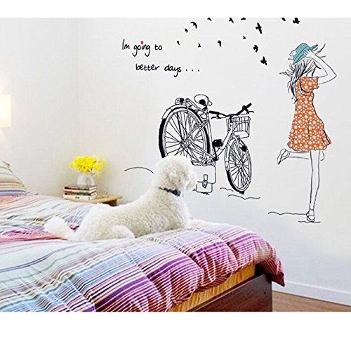 Vinilo decorativo para el dormitorio chica y bicicleta for Pegatinas vinilo pared