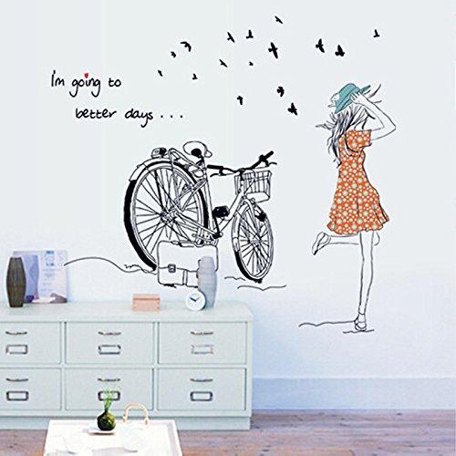 Vinilo decorativo para el dormitorio chica y bicicleta for Vinilo habitacion chica