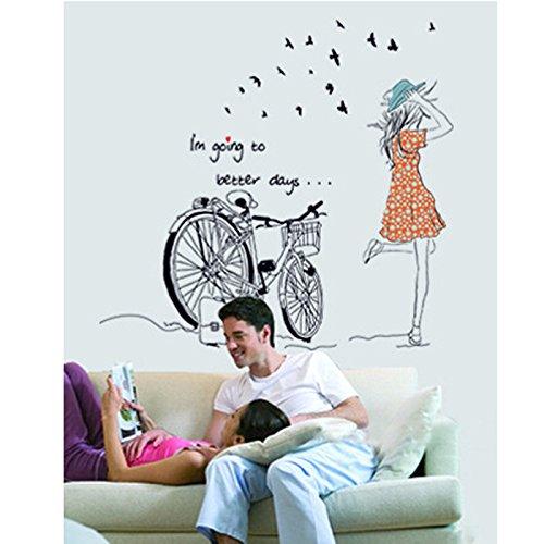 Vinilo decorativo para el dormitorio chica y bicicleta for Vinilos para pared precios