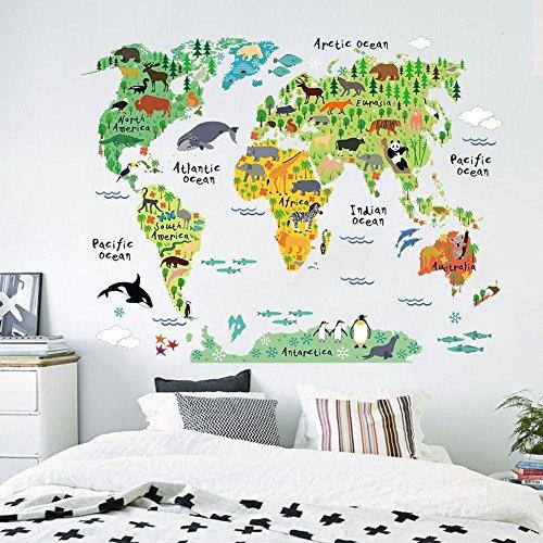 mapamundi con los animales de cada pas
