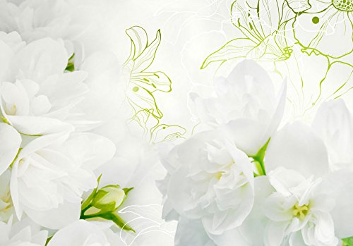 Fotomural adhesivo con flores blancas y detalles verdes