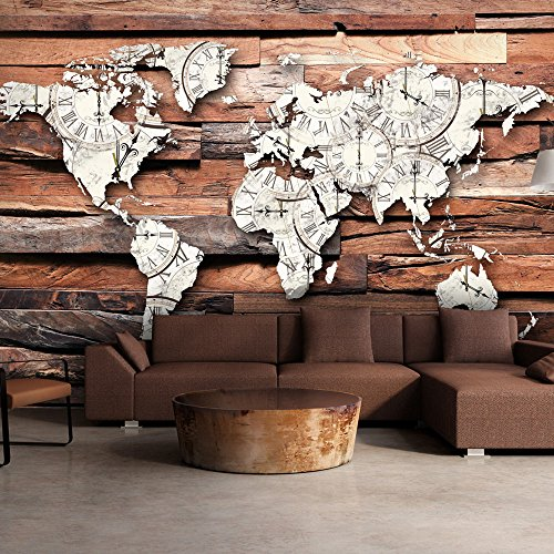 Fotomural original del mapa mundial sobre tablones de madera - Tablones de madera baratos ...