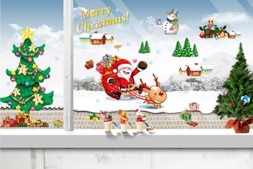 Vinilo divertido de santa claus y rbol de navidad - Murales decorativos de navidad ...