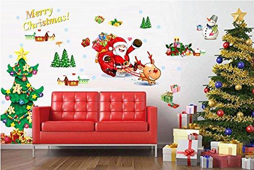 Vinilo divertido de santa claus y rbol de navidad for Pegatinas murales pared